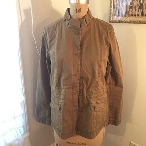 Eileen Fisher green surplus khaki ruffle collar